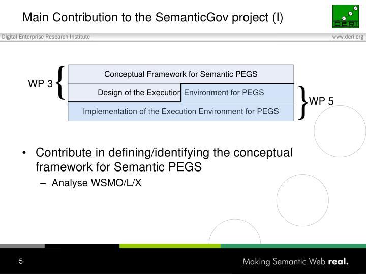 Main Contribution to the SemanticGov project (I)