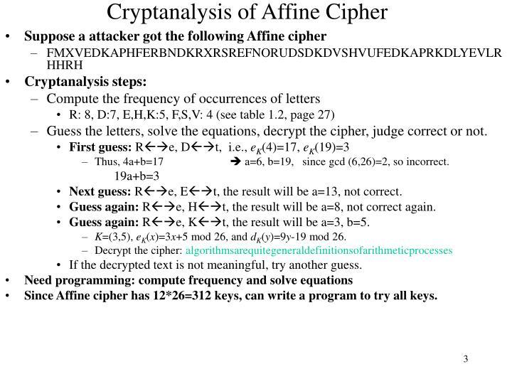 Cryptanalysis of affine cipher