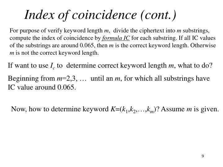 Index of coincidence (cont.)