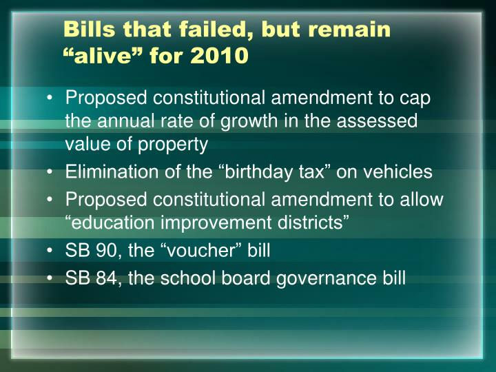 """Bills that failed, but remain """"alive"""" for 2010"""
