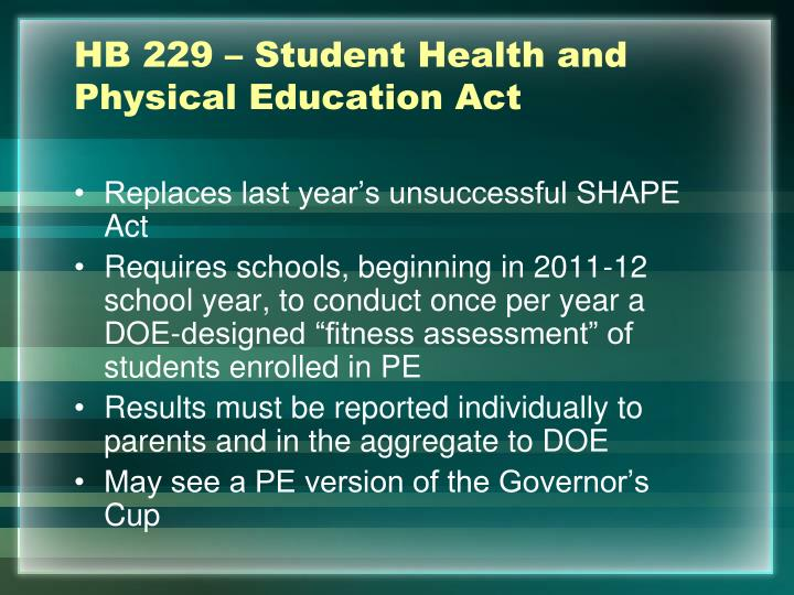 HB 229 – Student Health and Physical Education Act