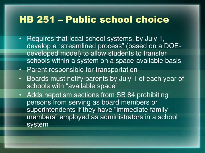HB 251 – Public school choice