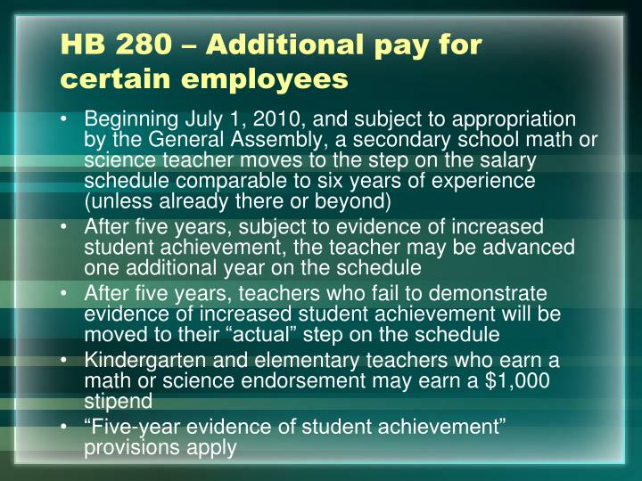 HB 280 – Additional pay for certain employees