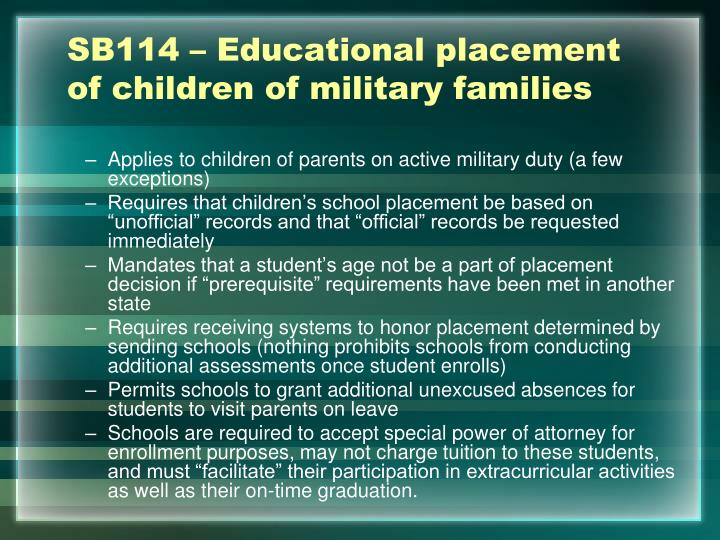 SB114 – Educational placement of children of military families