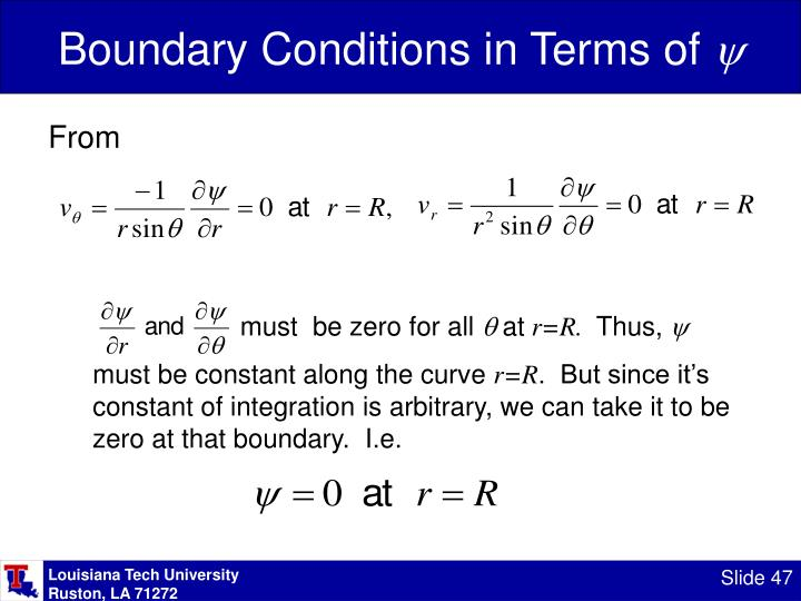 Boundary Conditions in Terms of
