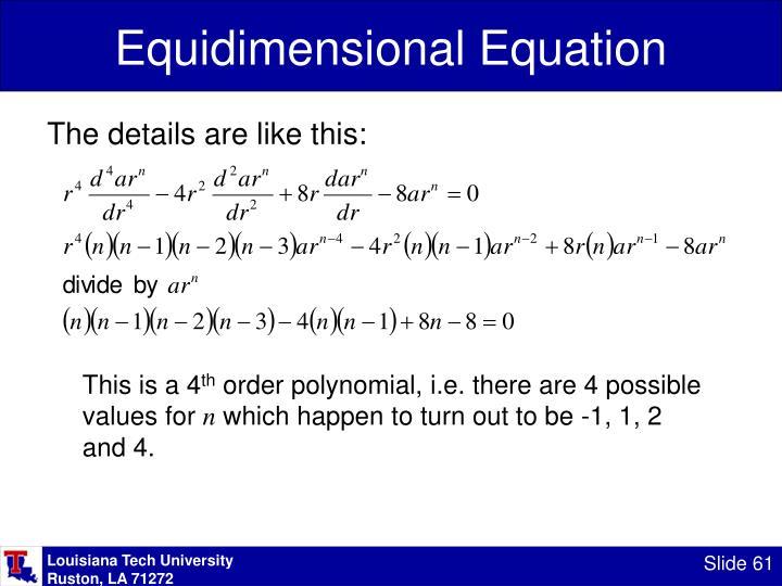 Equidimensional Equation