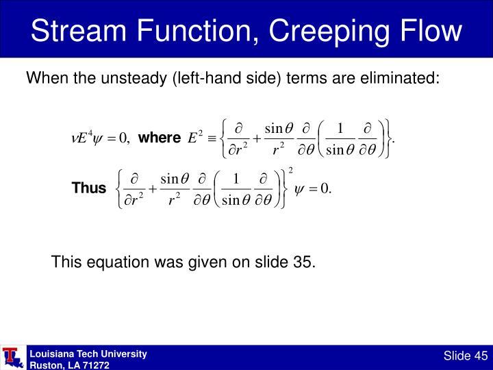 Stream Function, Creeping Flow