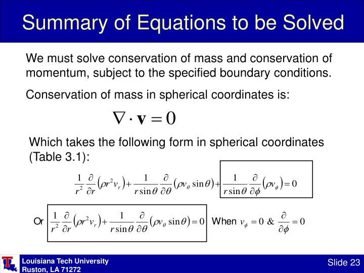 Summary of Equations to be Solved