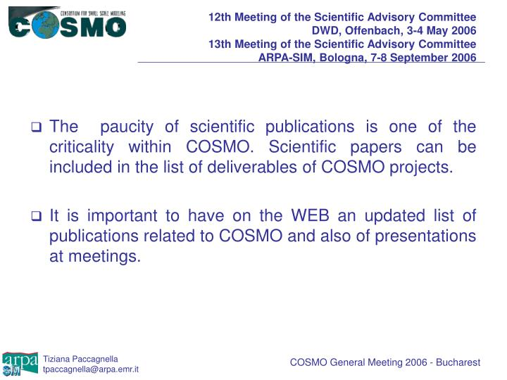 12th Meeting of the Scientific Advisory Committee