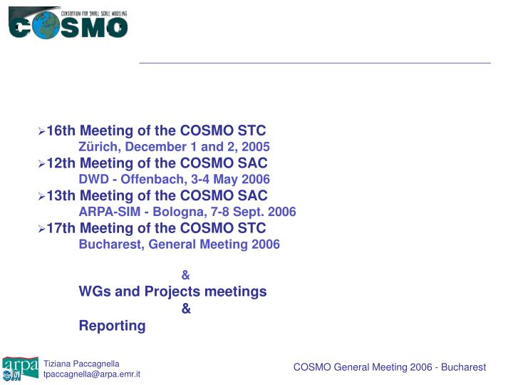 16th Meeting of the COSMO STC