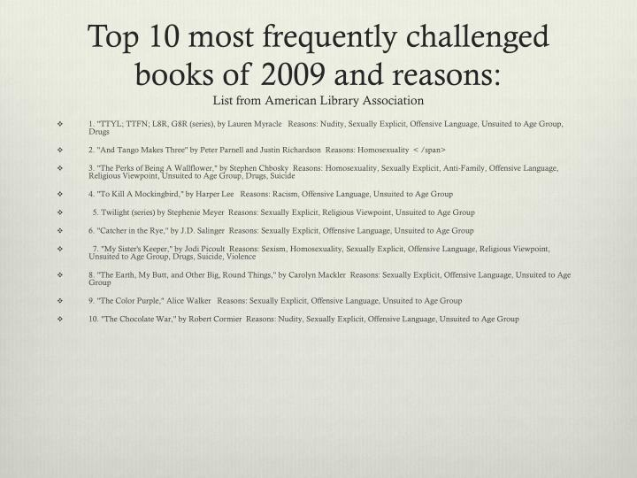Top 10 most frequently challenged books of 2009 and reasons: