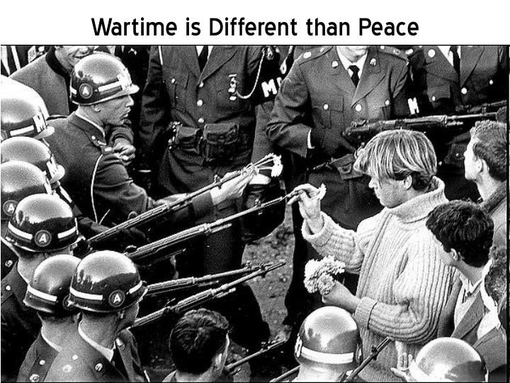 Wartime is Different than Peace
