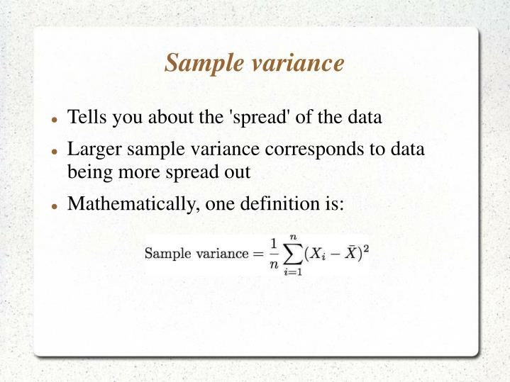 Ppt  Introduction To Summary Statistics Sample Mean  Sample