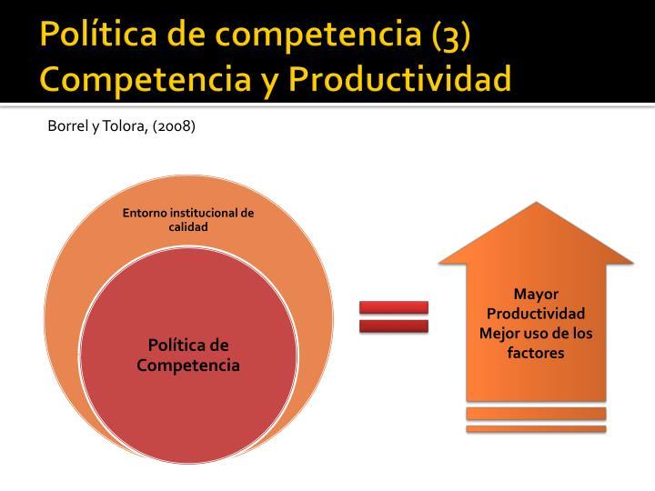 Política de competencia (3) Competencia y Productividad