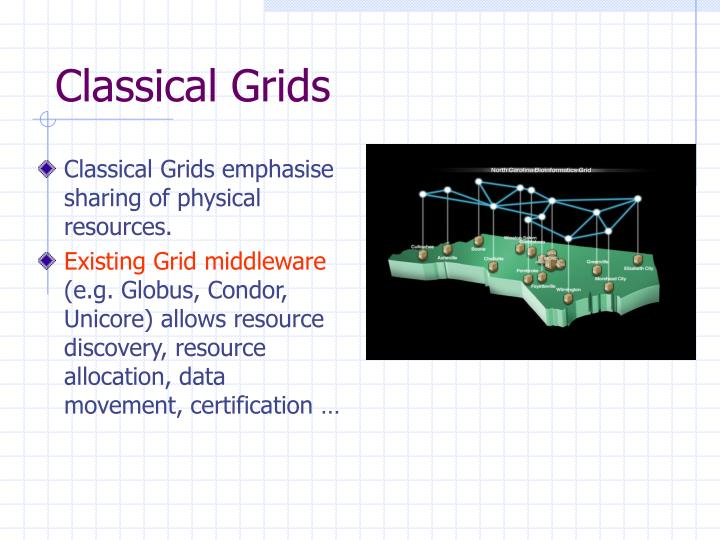 Classical Grids emphasise sharing of physical resources.