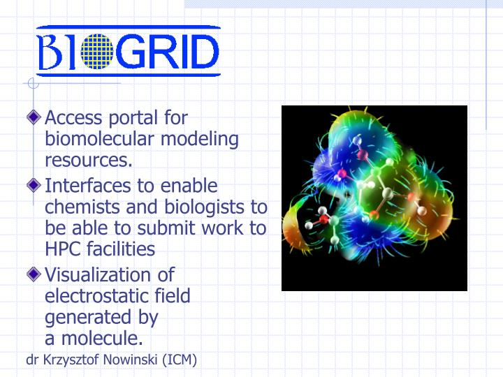 Access portal for biomolecular modeling resources.