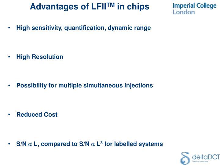 High sensitivity, quantification, dynamic range