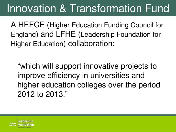 Innovation transformation fund