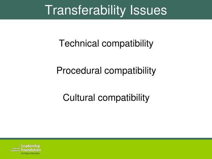 Transferability Issues