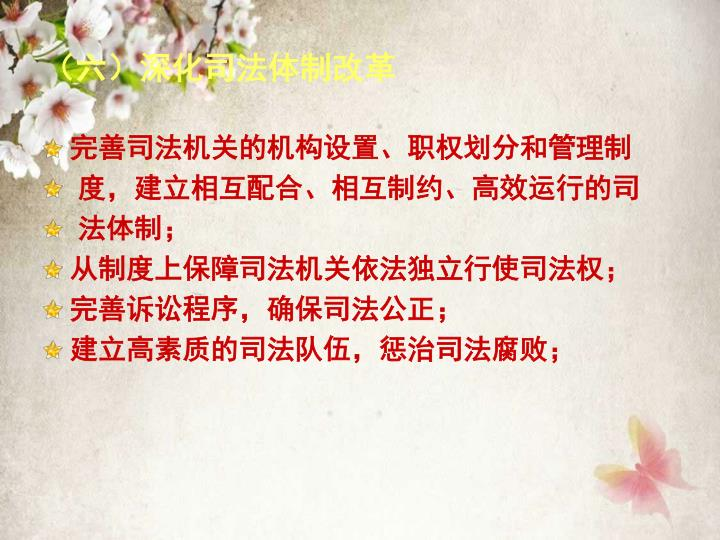 (六)深化司法体制改革
