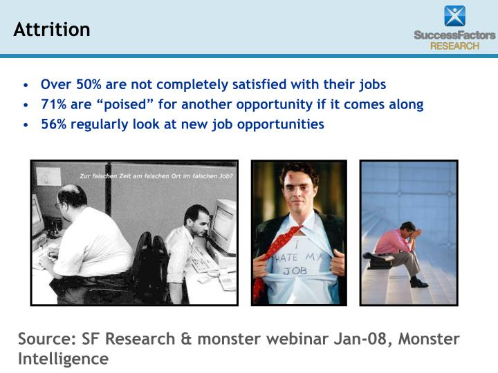 Over 50% are not completely satisfied with their jobs