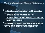 various levels of thesis statements