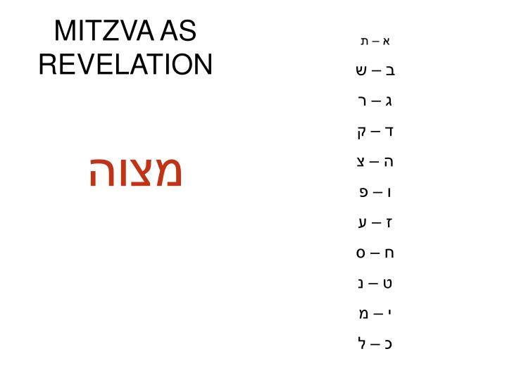MITZVA AS REVELATION
