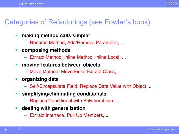Categories of Refactorings (see Fowler's book)