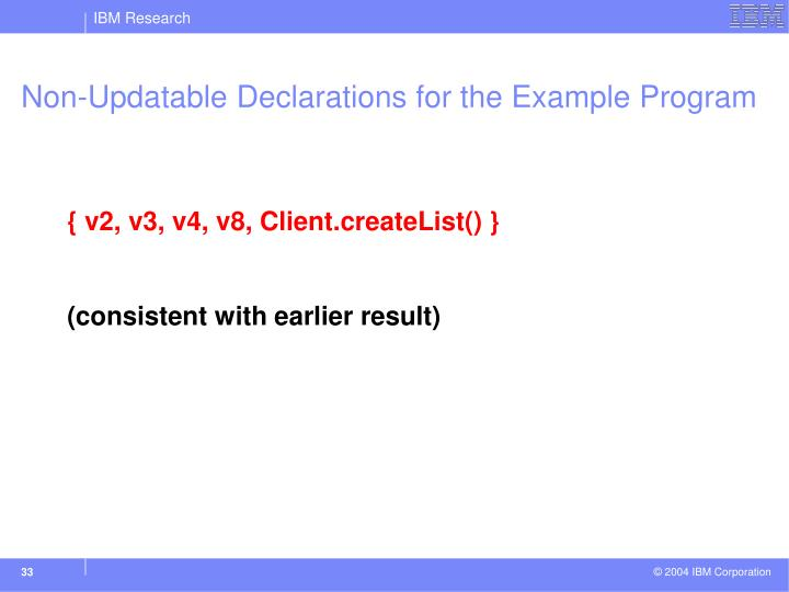 Non-Updatable Declarations for the Example Program