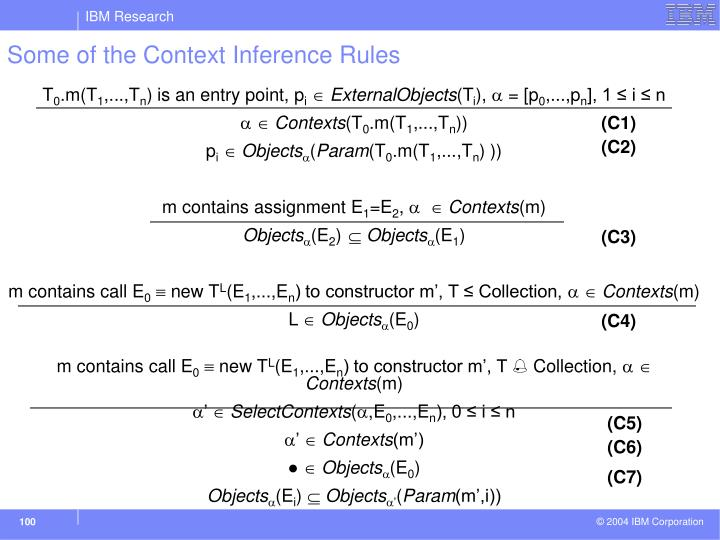Some of the Context Inference Rules