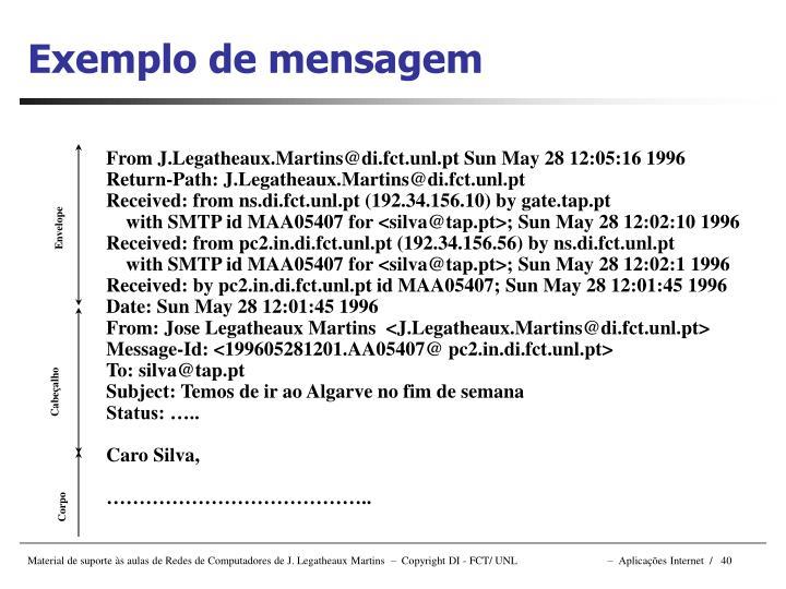 Exemplo de mensagem