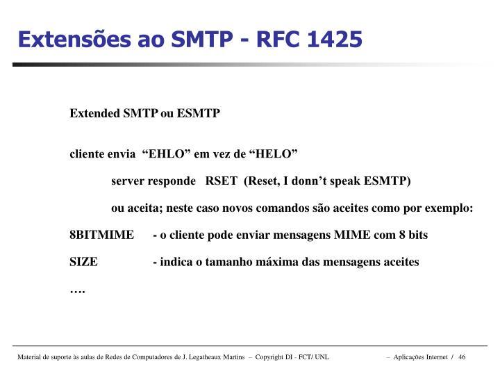 Extensões ao SMTP - RFC 1425