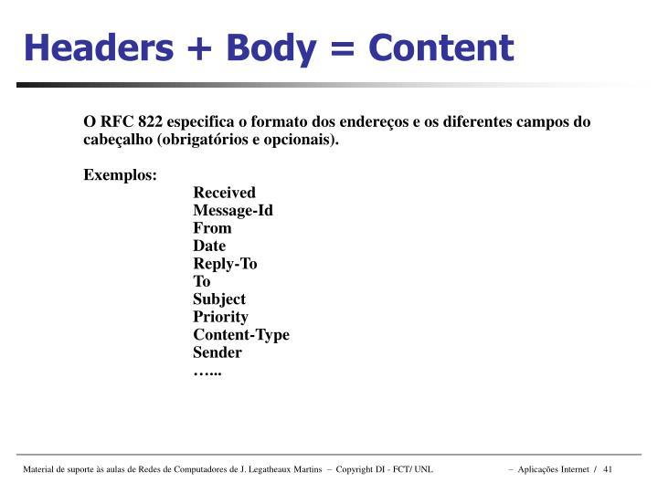 Headers + Body = Content