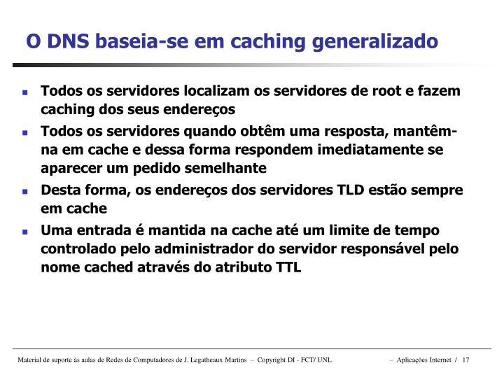 Todos os servidores localizam os servidores de root e fazem caching dos seus endereços
