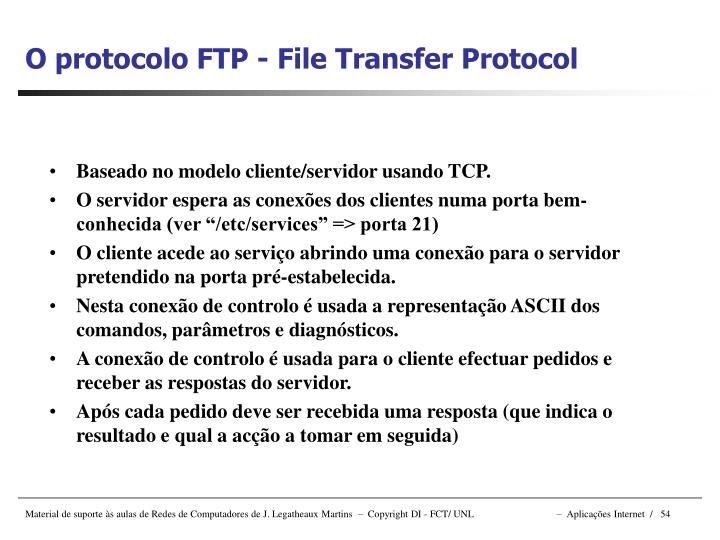 O protocolo FTP - File Transfer Protocol