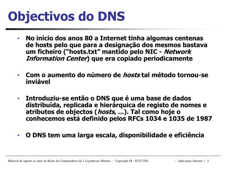 Objectivos do DNS
