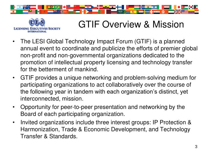 Gtif overview mission