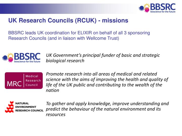 UK Research Councils (RCUK) - missions