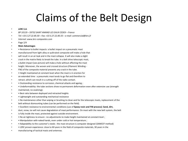 Claims of the Belt Design