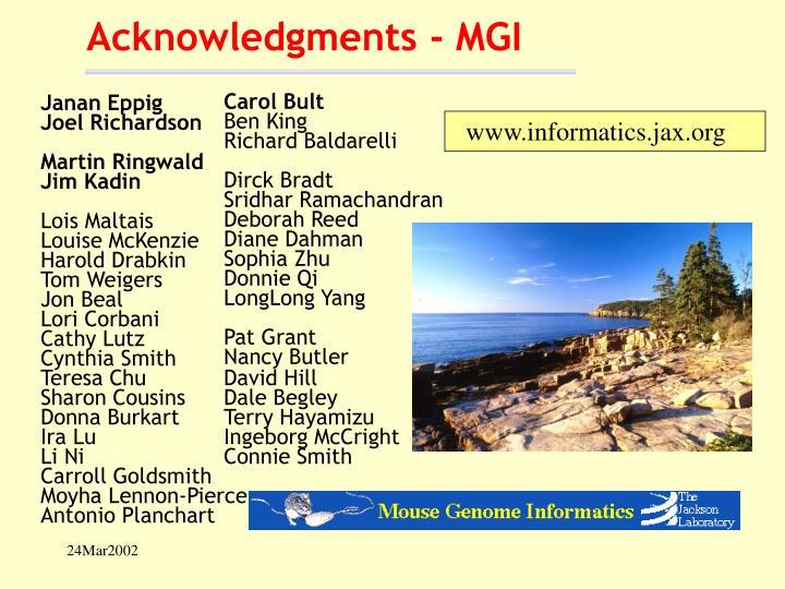 Acknowledgments - MGI