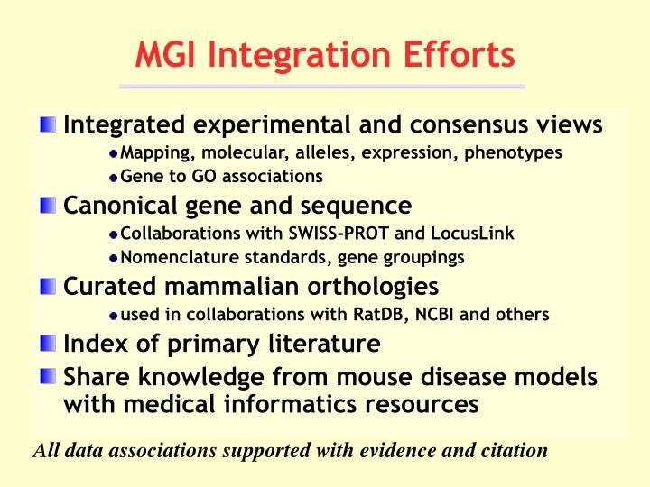 Mgi integration efforts