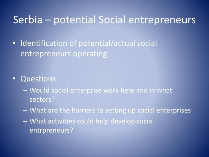 Serbia – potential Social entrepreneurs