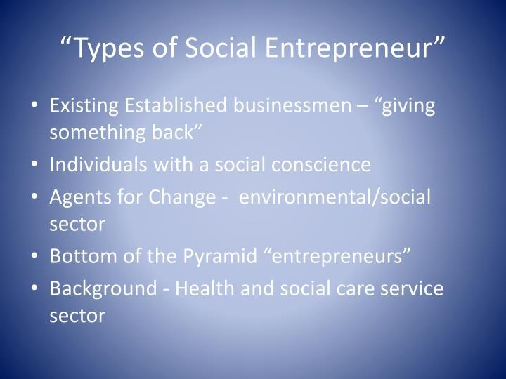 """""""Types of Social Entrepreneur"""""""