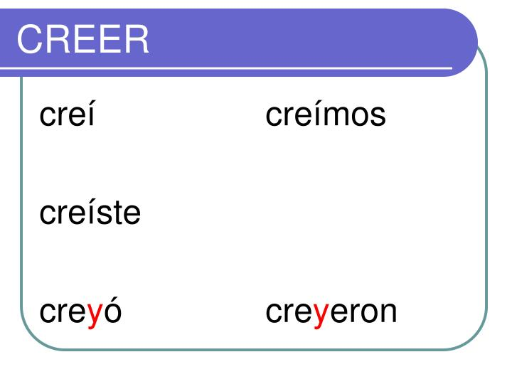 Creer Preterite