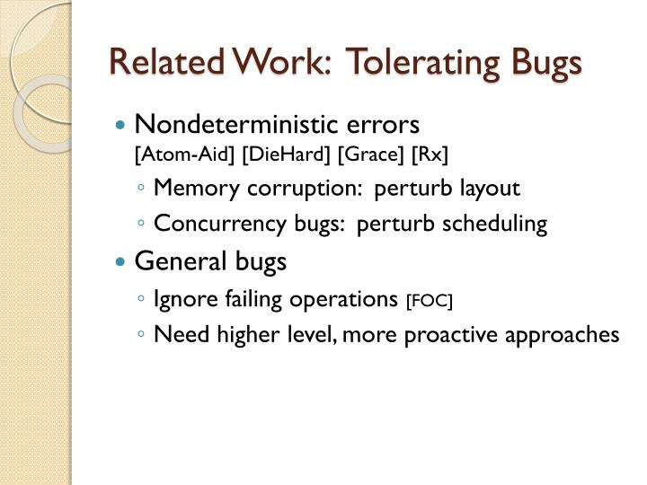 Related Work:  Tolerating Bugs
