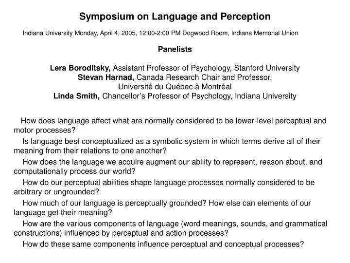 Symposium on language and perception