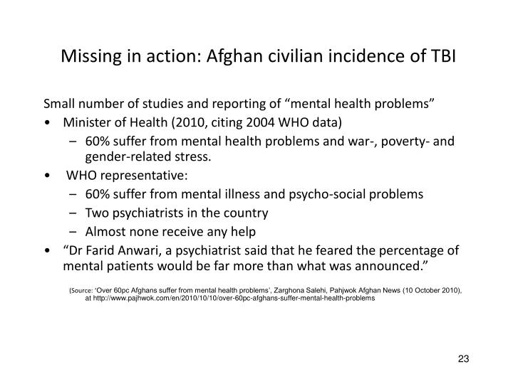 Missing in action: Afghan civilian incidence of TBI