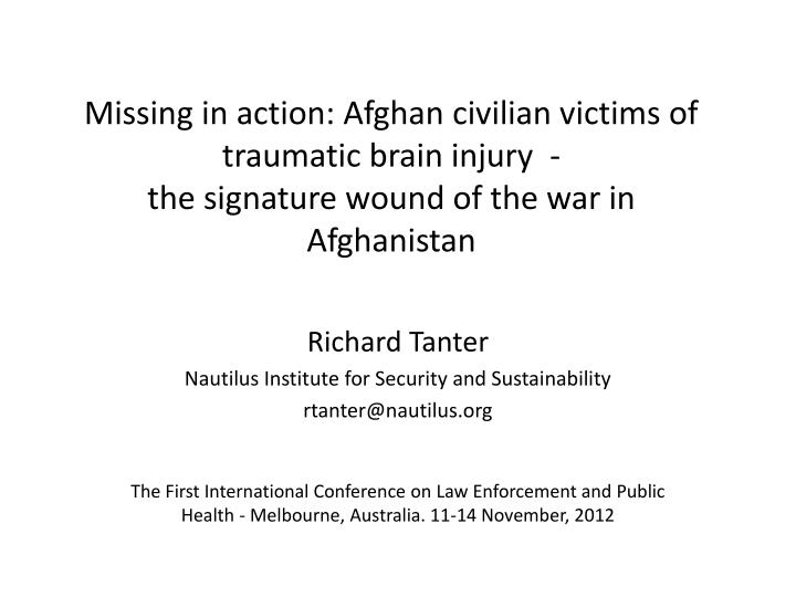 Missing in action: Afghan civilian victims of traumatic brain injury  -