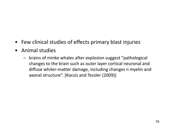 Few clinical studies of effects primary blast injuries