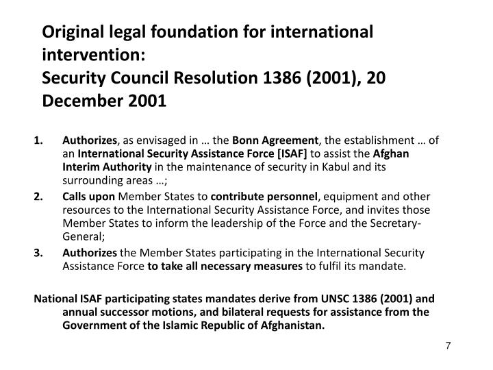 Original legal foundation for international intervention: